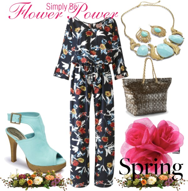 Springtime inspiration featuring Simply Be's Long Sleeve Floral Print Jumpsuit