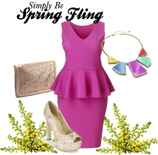 featuring Simply Be's Peplum Dress in Pink