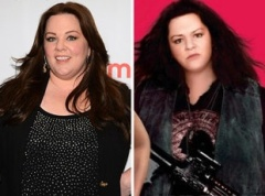 "Melissa McCarthy had her face slimmed, eye color changed and skin smoothed for this ridiculous movie poster of ""The Heat"" (http://www.huffingtonpost.co.uk/2013/06/14/melissa-mccarthy-the-heat-poster-photoshopped_n_3441543.html)"