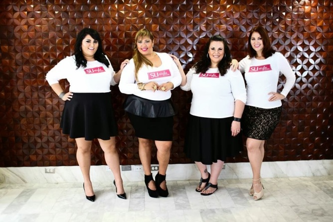 From left to right: Blogger & Stylist Marcy Guevara, TV/Internet host-Su StyleTv Suzanne Ujaque , Plus Model Magazine editor in chief Madeline Figueroa and Plus Size model Ana Garcia [photo via www.Su-style.com