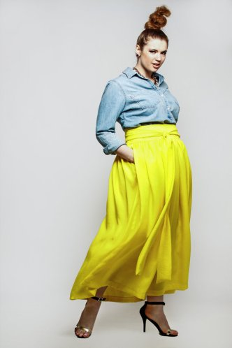 JIBRI Plus Size High Waist Printed Maxi Skirt (attached wrap belt)