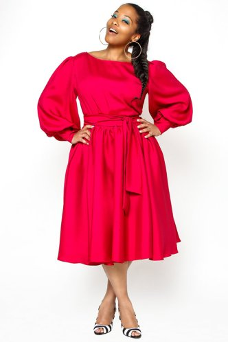 JIBRI Plus Size Billow Sleeved Spring Dress