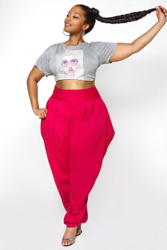 JIBRI Plus Size High Waist Slouch Sweat Pant