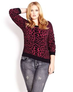 Love and Legend Cropped Animal Print Sweater via Addition Elle