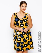 Shift Dress In Bright Animal Print via ASOS Curve