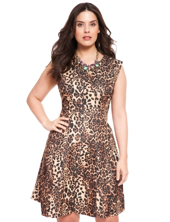 Cheetah Fit and Flare Dress via Eloquii