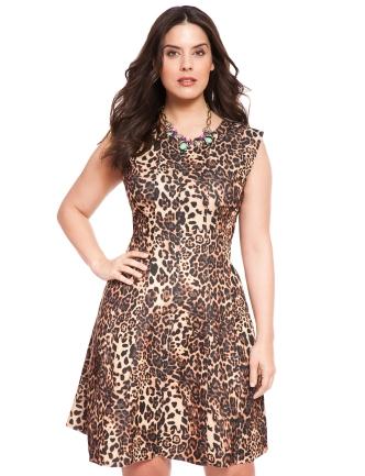 Cheetah Fit and Flare Dress via Eloquii