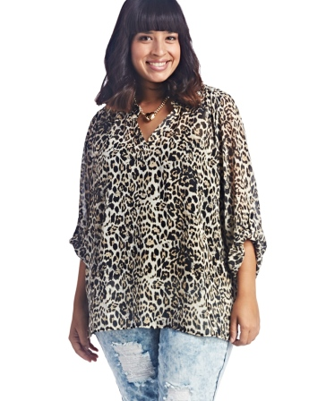 ANIMAL PRINT POPOVER SHIRT via Wet Seal+