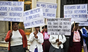 Women who suffered forced sterilisation during the administration of former President Alberto Fujimori protest in Lima. Photograph: Ernesto Benavides/AFP/Getty Images via http://www.theguardian.com/global-development/2014/mar/14/peru-women-forced-sterilisation-justice