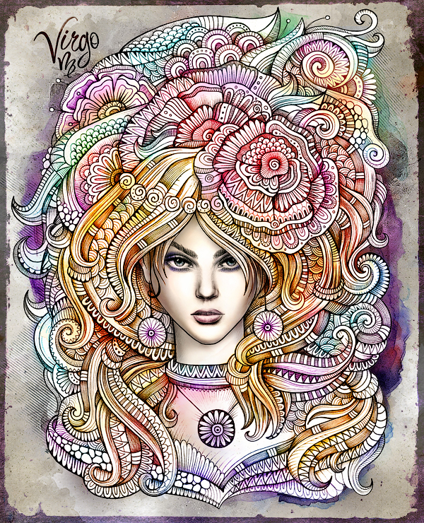 "Zodiac illustration ""VIRGO"" by balabolka, via Behance"