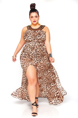 JIBRI Leopard Beaded Neck Sheer Poolside Dress