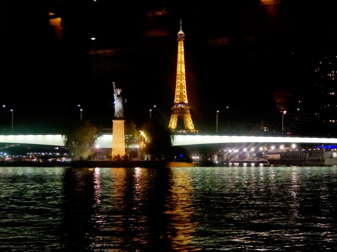 The Eiffel Tower and a replica of The Statue of Liberty