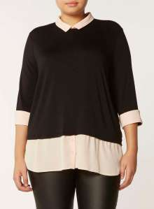 DP Curve Black and Blush 2-in-1 Long Sleeve Top