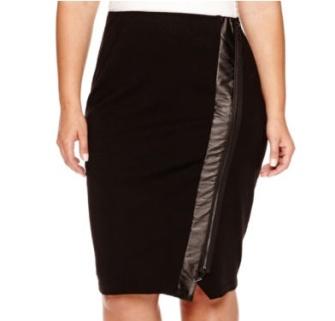 Zip-Front Pencil Skirt
