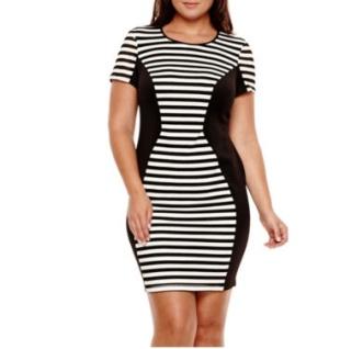 Short-Sleeve Striped Panel Sheath Dress