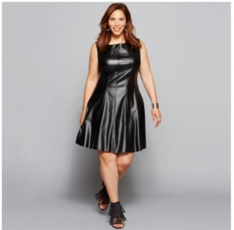 Sleeveless Seamed Faux-Leather Fit-and-Flare Dress
