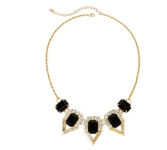 Mixit Black Stone Gold-Tone Statement Necklace