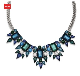 Mixit Blue and Teal Crystal Silver-Tone Statement Necklace