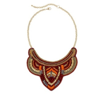 Mixit Burgundy and Orange Bead Collar Necklace