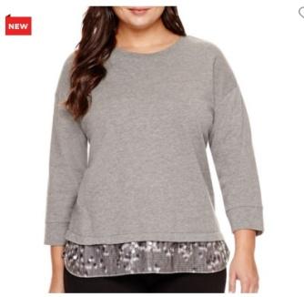 3/4-Sleeve Sequin-Hem Sweatshirt