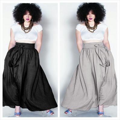 JIBRI High Waist Belted Maxi Skirt