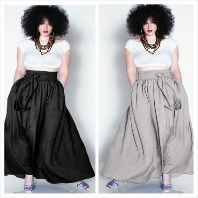 JIBRI High Waist Belted Maxi Skirt