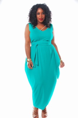JIBRI SLEEVELESS V NECK MAXI DRESS W NECK DETAIL