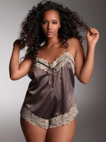 Lace Trim Satin Teddy