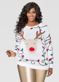 Light Up Reindeer Holiday Sweater