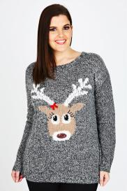 Black & White Knitted Reindeer Print Christmas Jumper